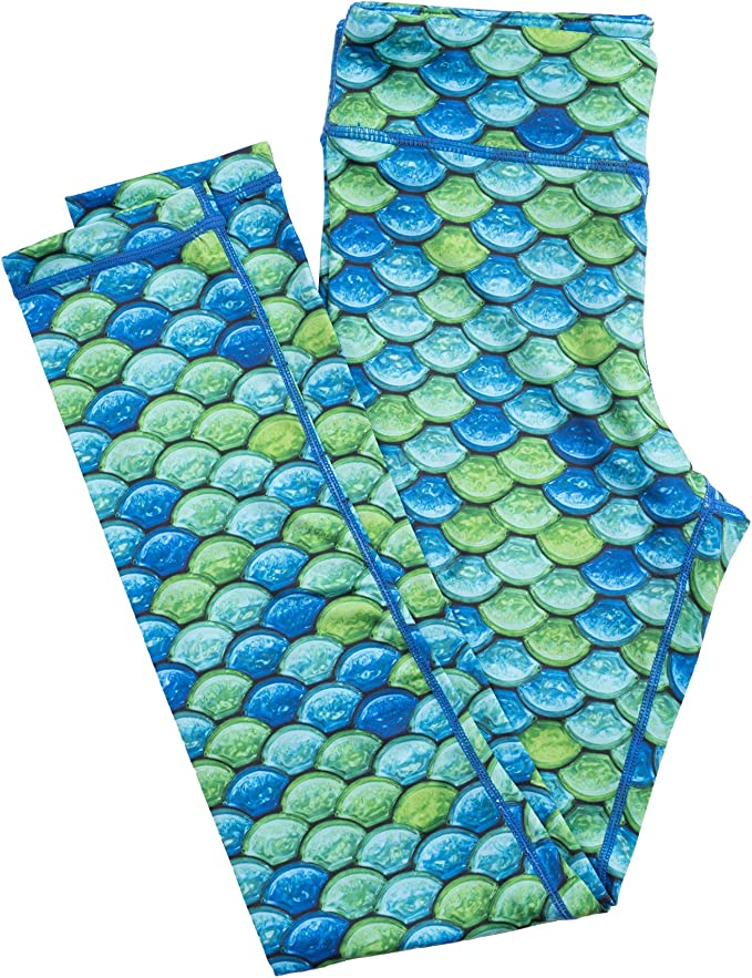 X-Small Pacific Pearl Fin Fun Girls and Kids Mermaid Athletic Leggings for Running and Swimming