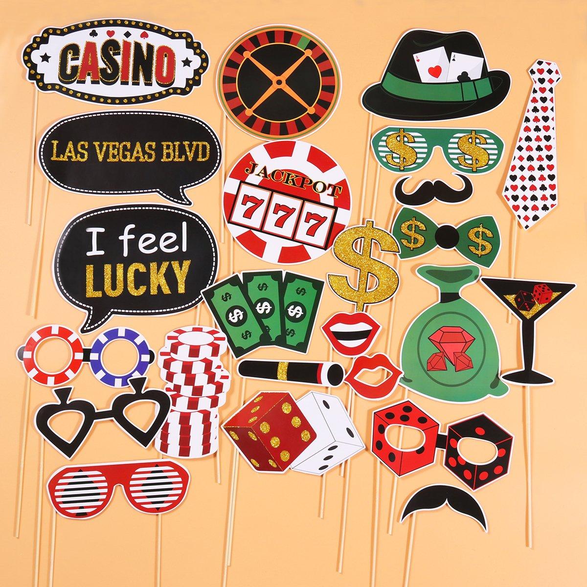 LUOEM Vegas Casino Photo Booth Props Kit Glitter Casino ...