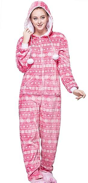 Aivtalk - Pijama Rosa Cómodo Caliente Ropa de Dormir para Mujer Motivo de Pájaro Invierno Otoño