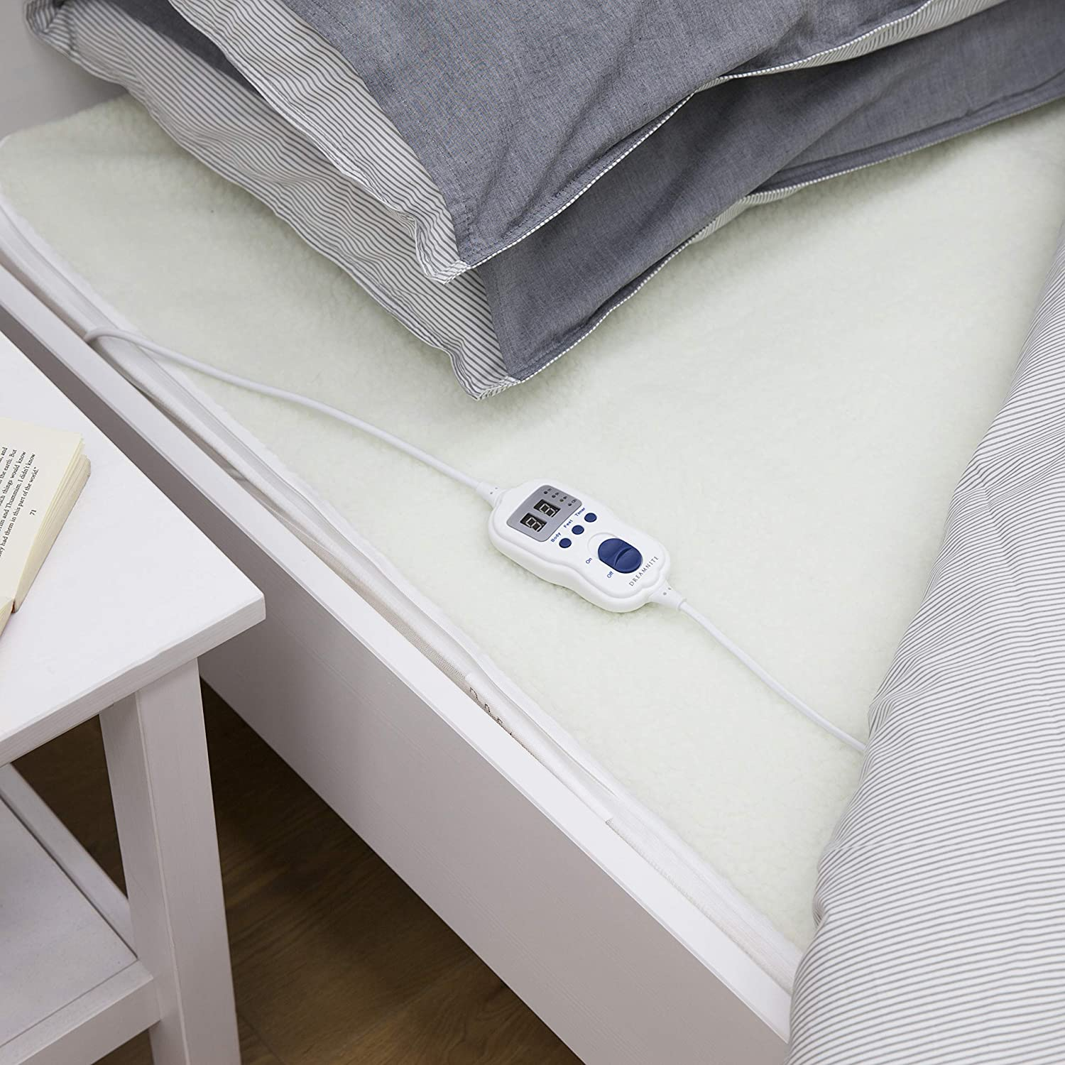 Dreamnite DN47002 Single Size Heated, Fitted Fleece Electric Under Blanket, Cream