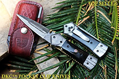 DKC-130-DS-PC Night Star Pocket Clip Damascus Folding Pocket Hunting Knife Damascus Blade 4.5 Folded 8 Open 9.5 oz