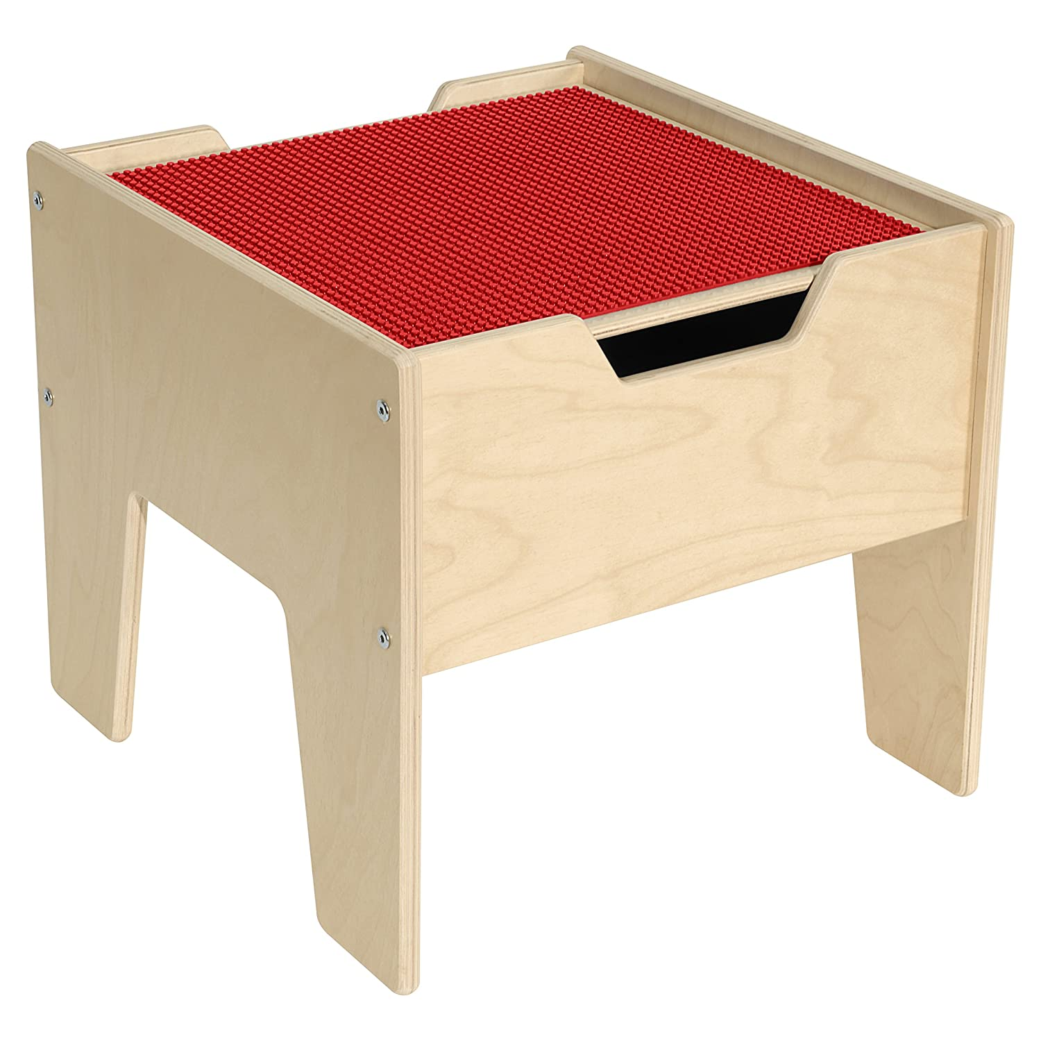 Image of Building Sets Contender 2-N-1 Activity Table with Red Lego Compatible Top - RTA