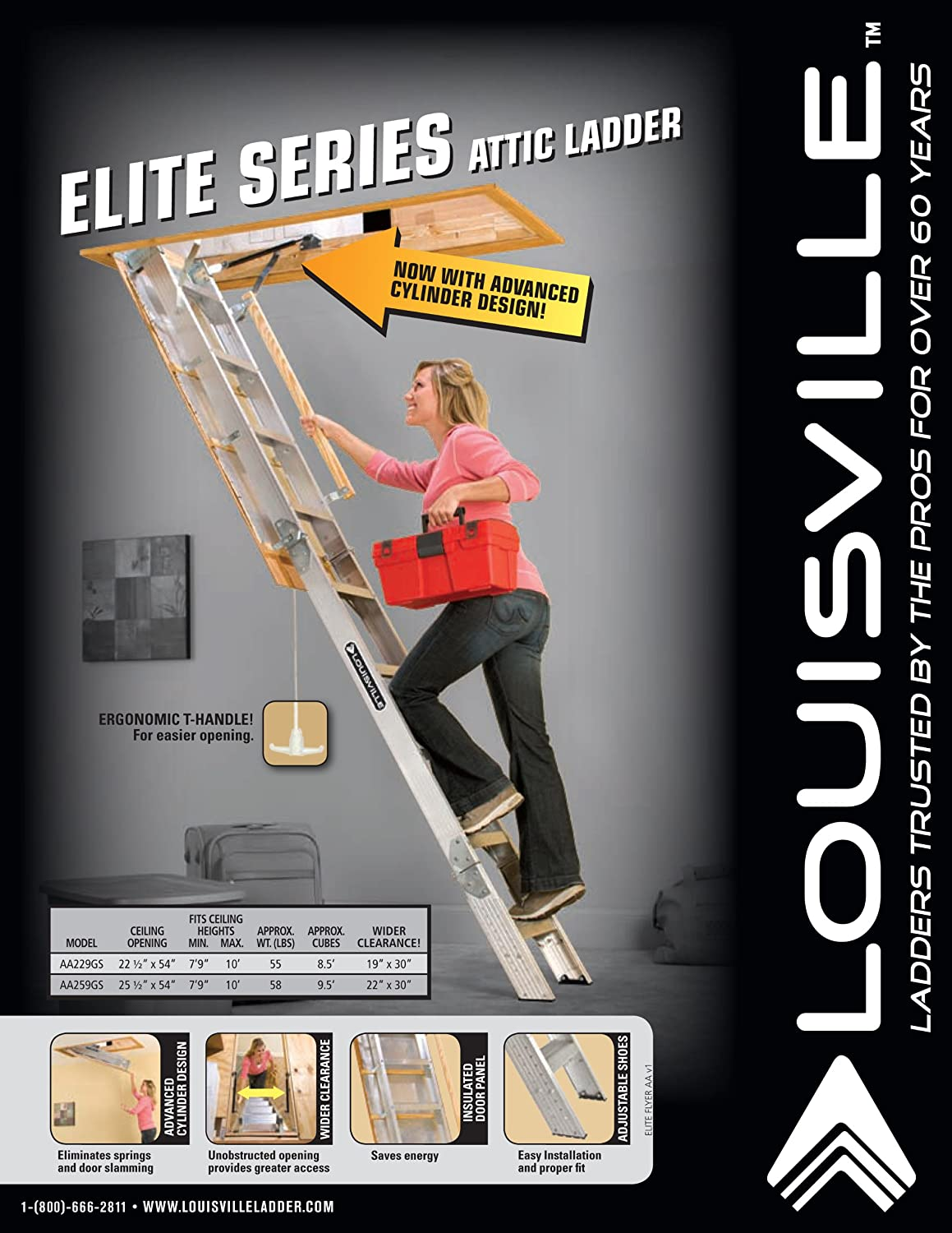 Louisville Ladder AA229GS Elite Aluminum Attic Ladder 350 Pound Capacity  22.5 Inch By 54 Inch Opening Ceiling Height 7 Foot 9 Inches To 10 Foot      Amazon. ...