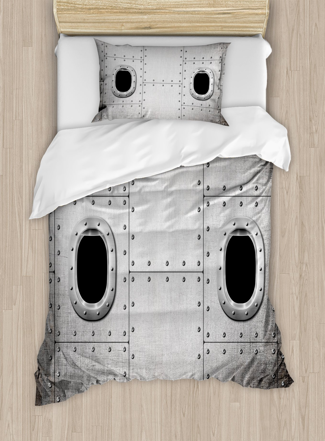 Ambesonne Vintage Airplane Duvet Cover Set Twin Size, Airplane Windows Close up Image Detailed Steampunk Style Illustration, Decorative 2 Piece Bedding Set with 1 Pillow Sham, Grey Black