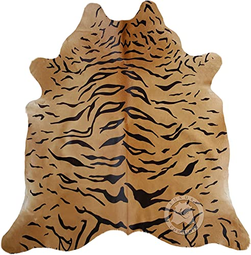 Tiger Cowhide Rug Cow Skin Leather Area Rug XL Approx 5.5 x 7 ft.