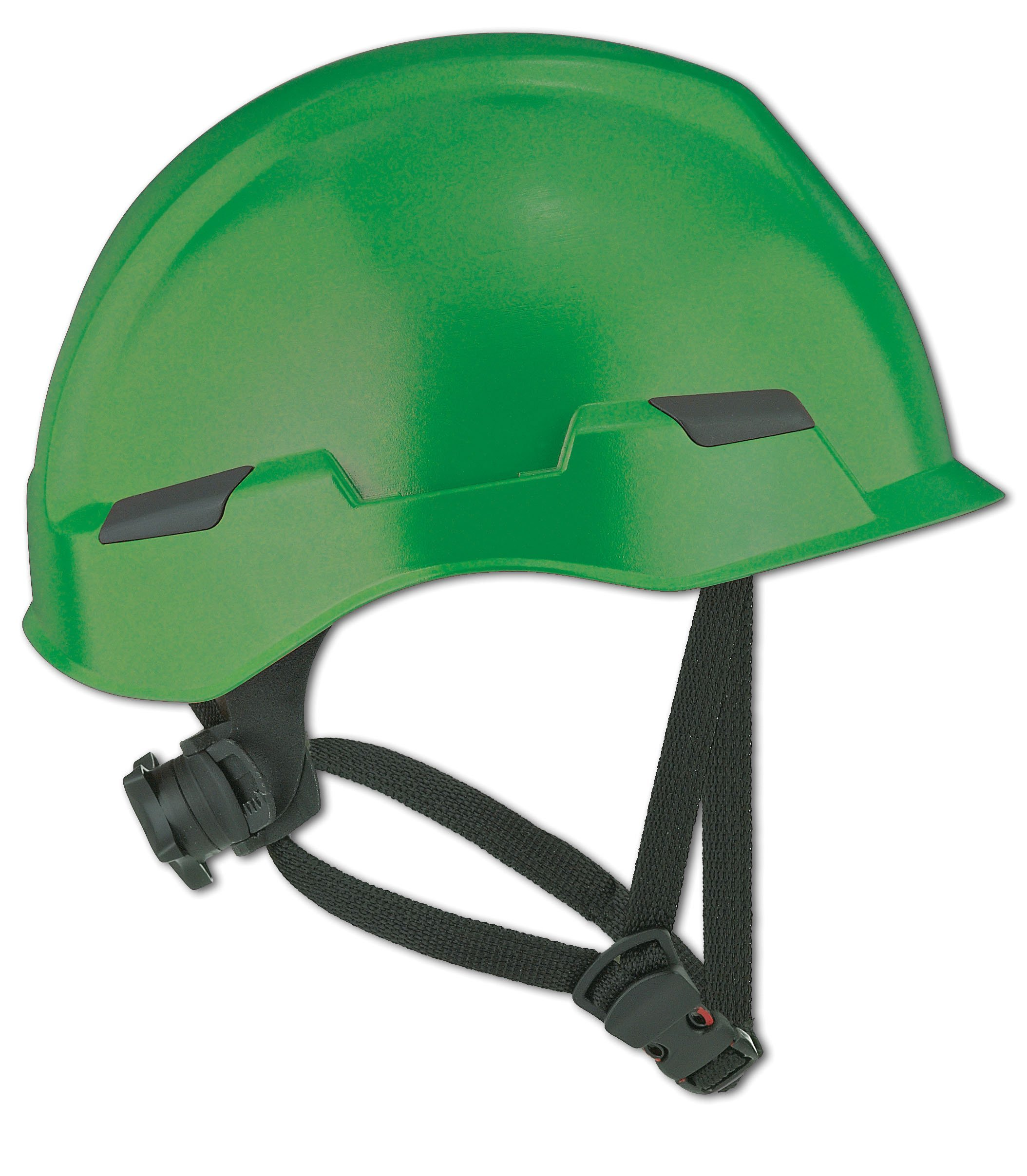 Dynamic Safety HP142R/04 Rocky Hard Hat with Nylon Suspension and Sure-Lock II Ratchet, Permanently Attached 4 Points Chin-Strap Adjustment, ANSI Type II, One Size, Dark Green