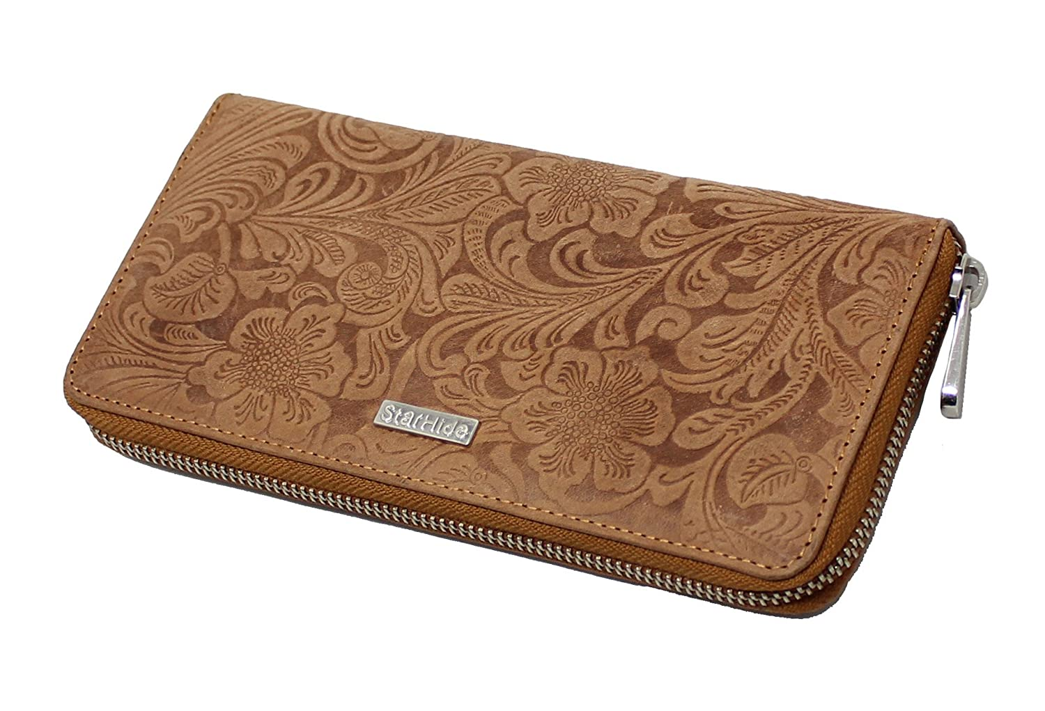 Women RFID Blocking Embossed Floral Wallet Purse Distressed Leather 5590