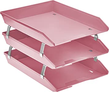 Solid Pink Color Acrimet Facility 3 Tiers Triple Letter Tray Frontal A4