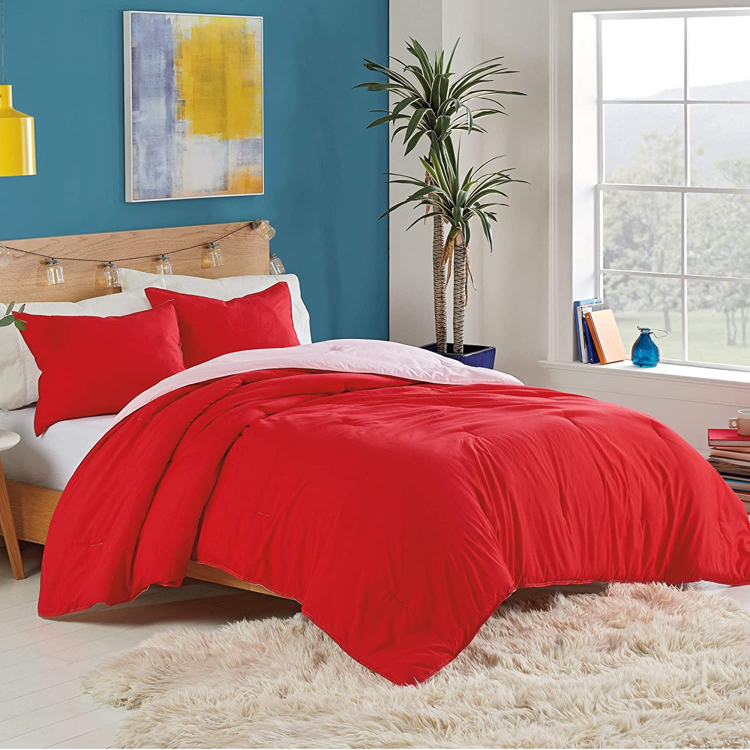 Utica Solid Reversible Comforter Set, King, Red