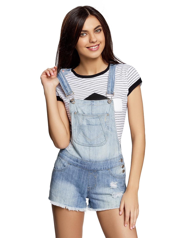 oodji Ultra Donna Salopette in Jeans con Effetto Invecchiato Blu IT 38 / EU 34 / XXS RIFICZECH s.r.o. 13109058