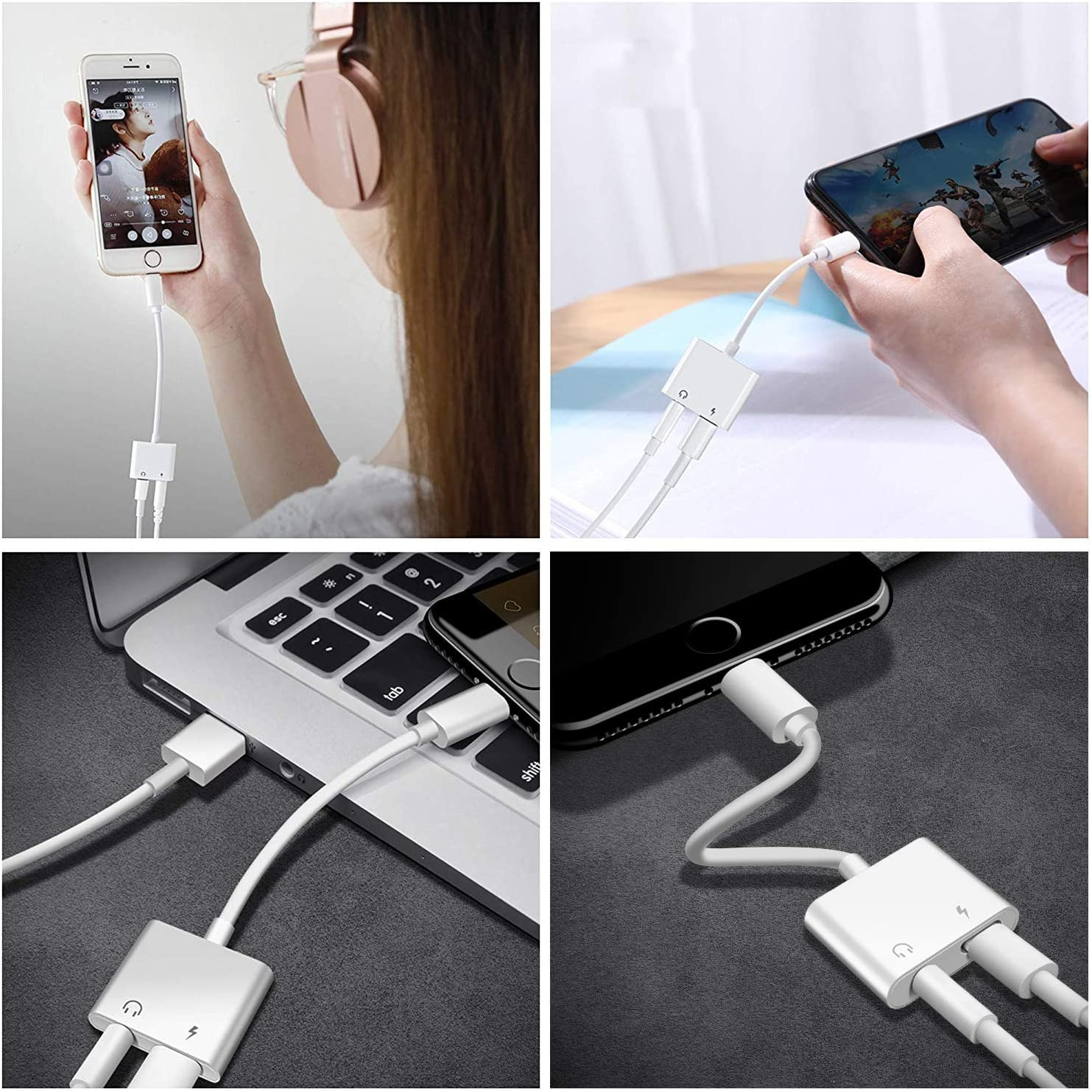 Headphone Dongle Adaptor LEADTEAM 2 in 1 Earphone Splitter Connector for Phone 11//11pro//11 Pro//XS Max//XR//8//7//Plus/ with 3.5mm Dongle Earphone Music /& Charge Compatible