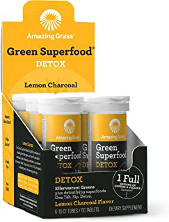 product image for Amazing Grass Effervescent Detox Tablets: Water Flavoring Tablet with Detoxifying Greens & Antioxidants, Lemon Charcoal, 60 Count