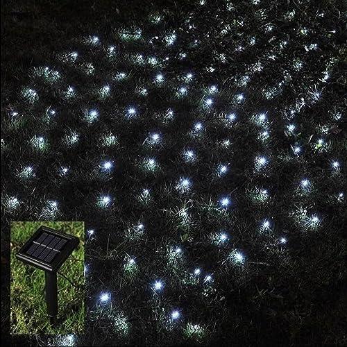 Outdoor Solar Fairy Lights Uk: New 105 Blue LED Solar Powered Net Lights Outdoor Garden