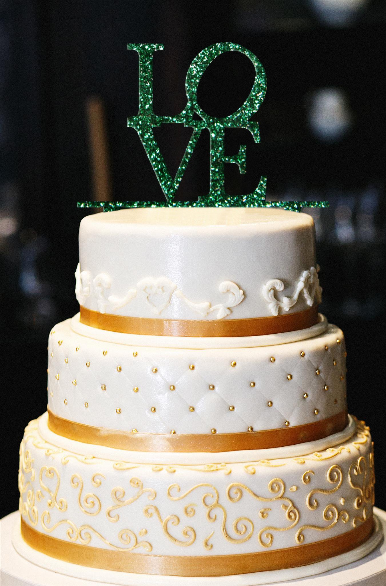 Love Wedding Cake Topper, Wedding Cake Topper, Engagement Cake Topper, Anniversary Cake Topper, Love Topper , Gold Glitter Cake Topper (13'', Glitter Emerald) by American Sign Letters (Image #1)