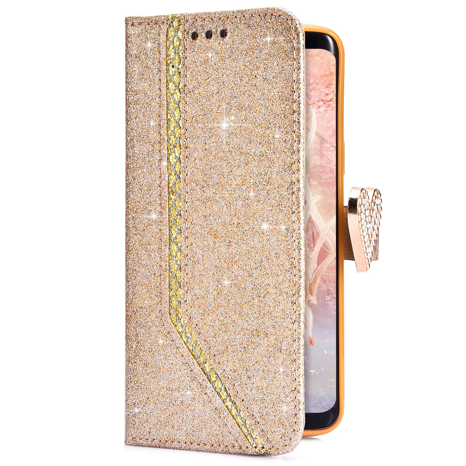 Uposao Compatible with Samsung Galaxy S7 Wallet Flip Case Bling Glitter Love Heart Diamond Rhinestone Luxury Sparkly Slim Leather Stand Case with Magnetic Closure Card Slots, Black PYHT00031751