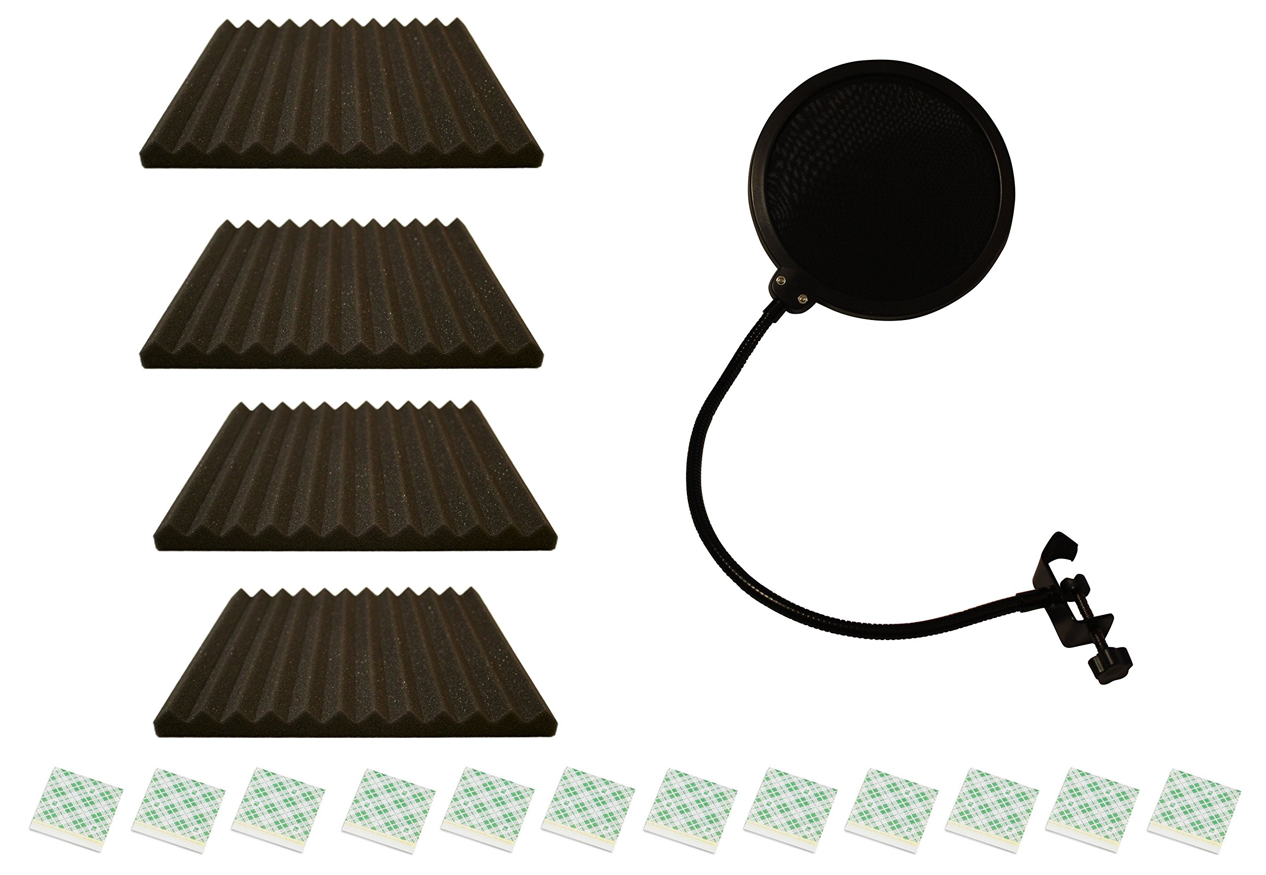 Pop Shield And Acoustic Foam For Studio Microphone Recording | Bundle Of 4 sq ft Soundproof Foam, 12 Adhesive Squares, and Pop Filter Mic Wind Screen
