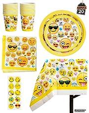 81 Piezas Vajilla para Cumpleaños – Diseño de Emoji – 20 Platos Vasos, Servilletas y