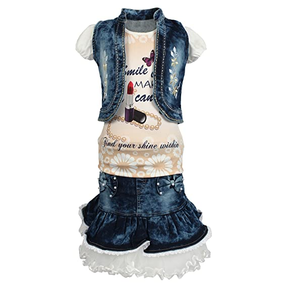 576437880ee Arshia Fashions Girls Partywear Skirt Top with Denim Jacket - sleeveless  GR275  Amazon.in  Clothing   Accessories