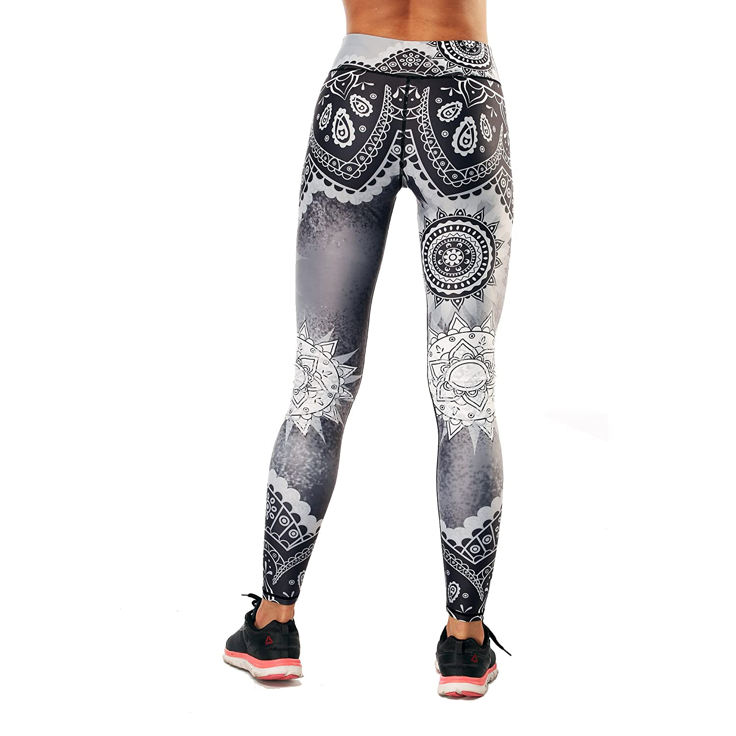 Maxfedo Womens 3D Print High Waist Yoga Pants Workout Running Leggings(Black White Pattern, L) at Amazon Womens Clothing store:
