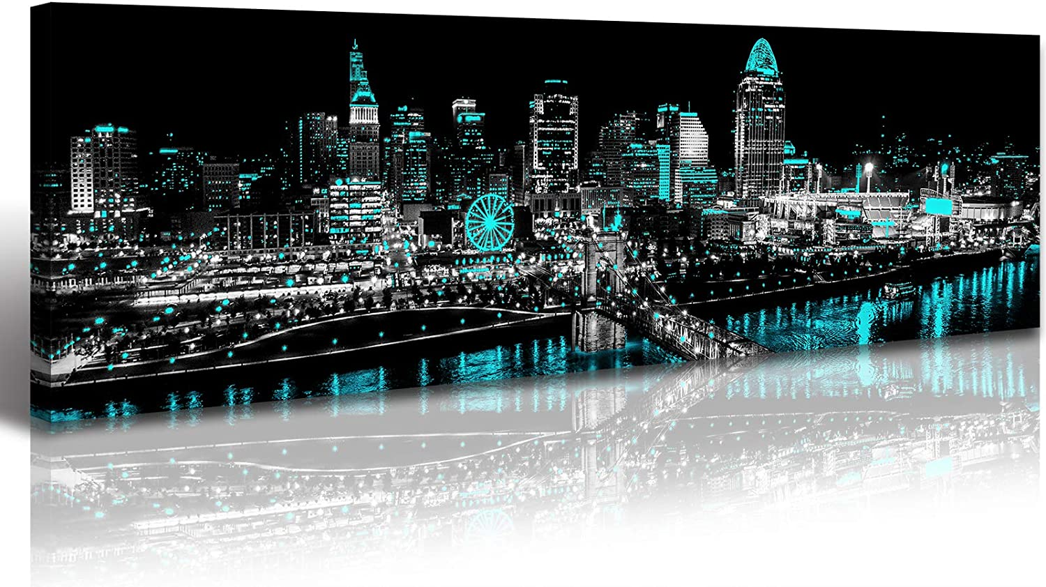 Black and White Panoramic Cincinnati City Skyline Wall Art Modern Cityscape Pictures Artwork Teal Turquoise Paintings on Canvas for Bedroom Home Decorations Office Decor Ready to Hang 14x48