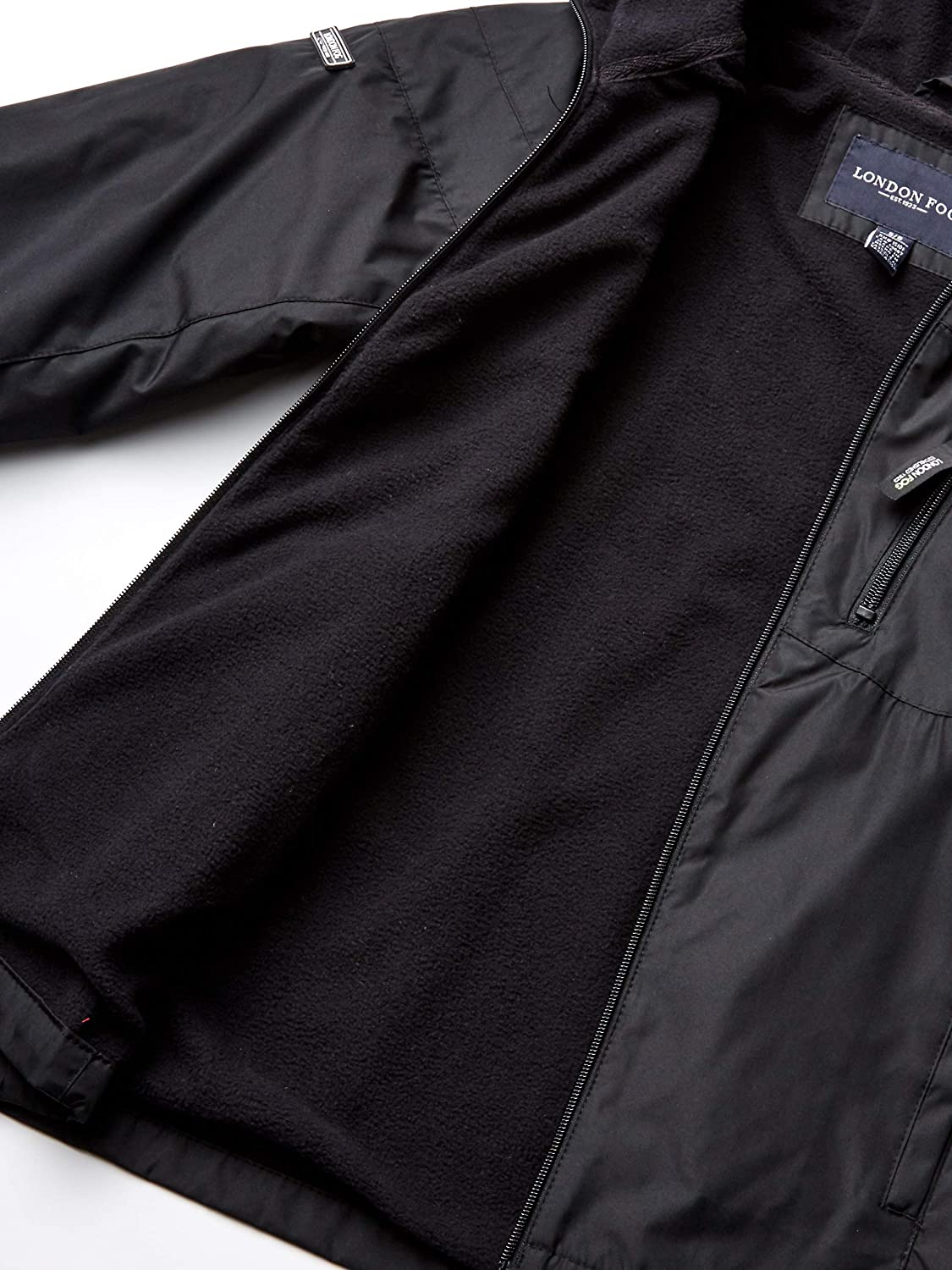14//16 LONDON FOG Boys Big Midweight Water Resistant Hooded Jacket Black and Black