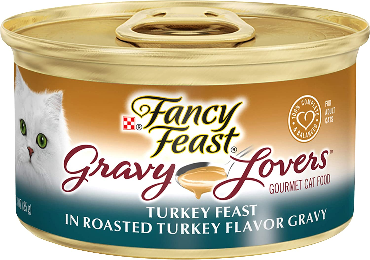Fancy Feast Gravy Lovers Wet Cat Food, Turkey Feast in Roasted Turkey Flavor Gravy, (24) 3 Oz Cans