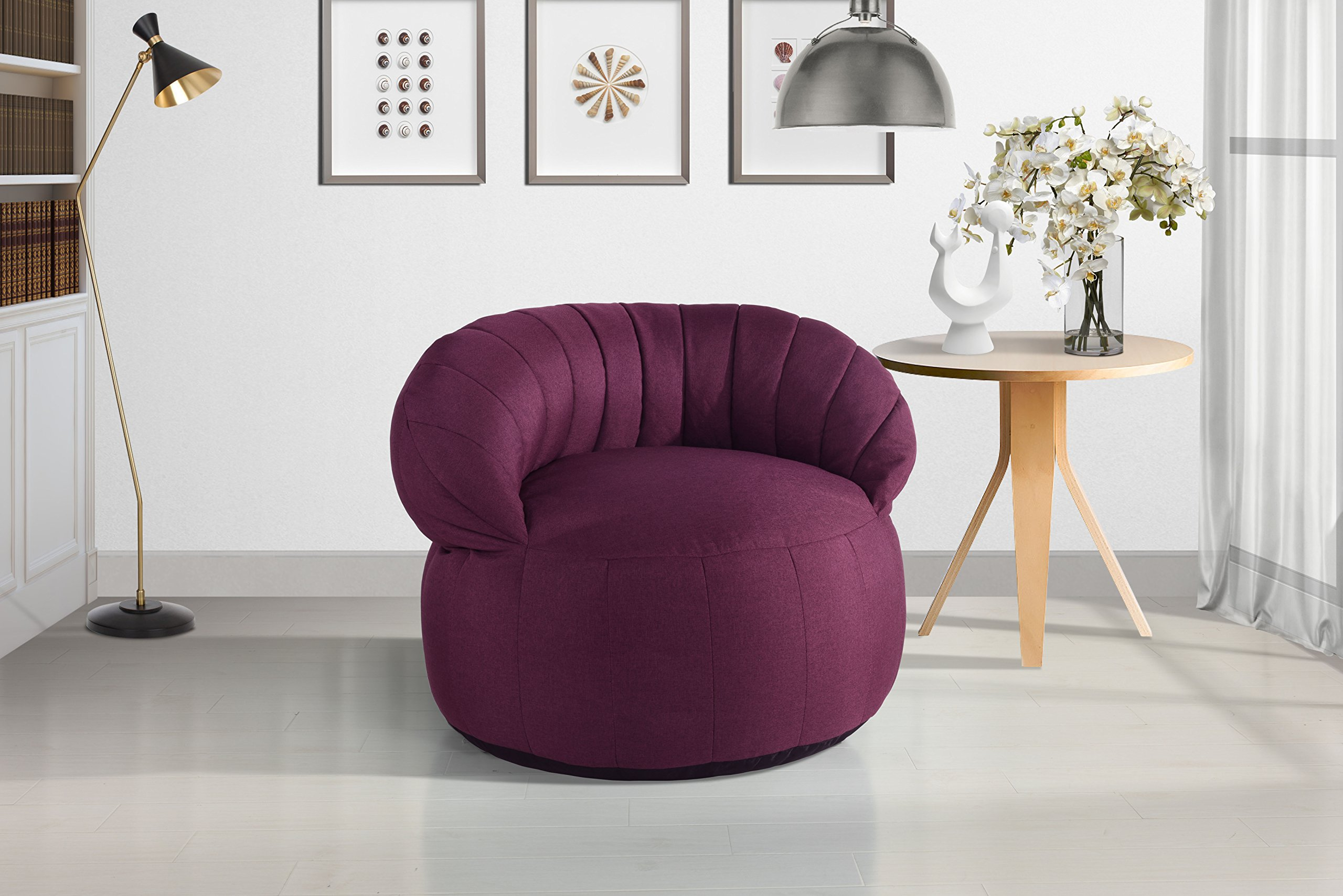 Large Linen Fabric Living Room Bean Bag Chair for Adults and Children (Pink)