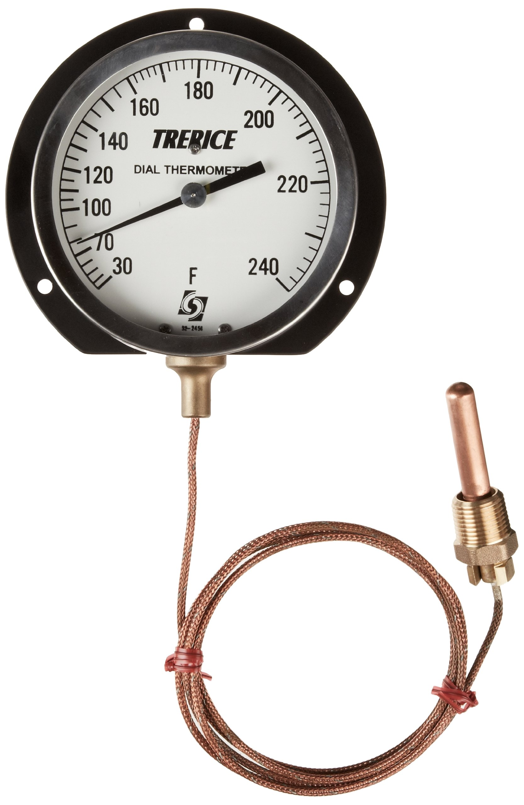Trerice V80341110B0105 Remote Mounted Dial Thermometer, 4.5'' aluminum surface mounted case, 30-240˚F, 5' copper capillary, 2'' copper bulb