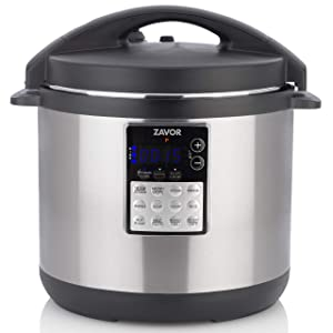 Zavor LUX Edge, 8 Quart Programmable Electric Multi-Cooker: Pressure Cooker, Slow Cooker, Rice Cooker, Yogurt Maker, Steamer and more - Stainless Steel (ZSELE03)
