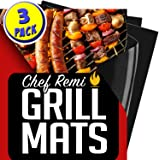 Chef Remi BBQ Grill Mat | Lifetime Replacement Warranty | Set of 3 Heavy Duty, Non-Stick Grilling Mats | 16 x 13 Inch | Use on Natural Gas, Charcoal, Propane, Electric Barbeque Grills & Fire Pits