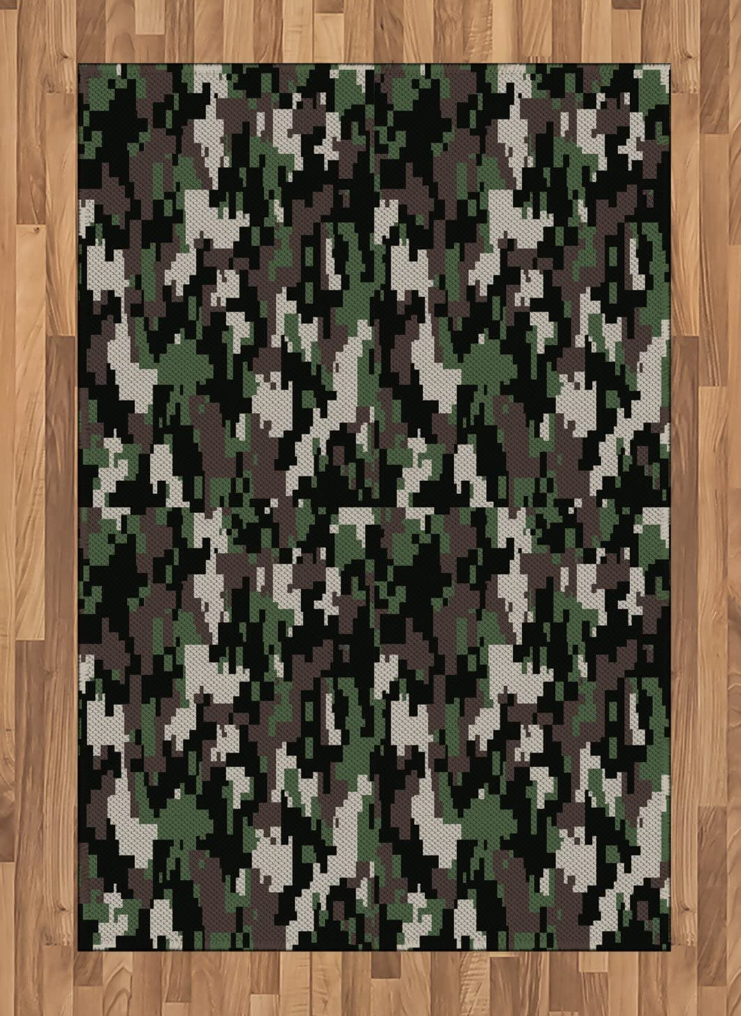 Ambesonne Camo Area Rug, Pixelated Pattern Digital Effect Modern Conceptual Camouflage Texture, Flat Woven Accent Rug for Living Room Bedroom Dining Room, 4' X 5.7', Army Green Beige Brown