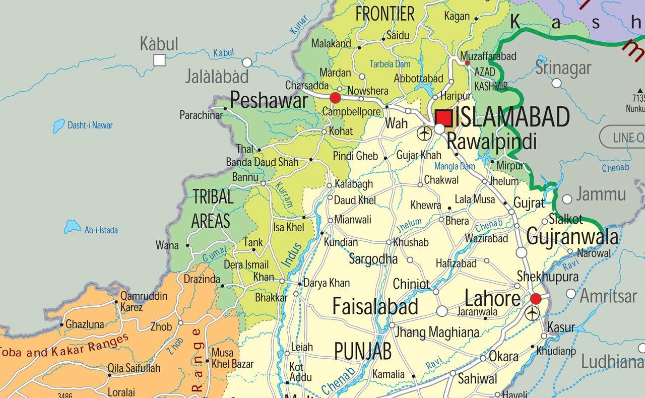 Paper Laminated A1 Size 59.4 x 84.1 cm Pakistan Political Map