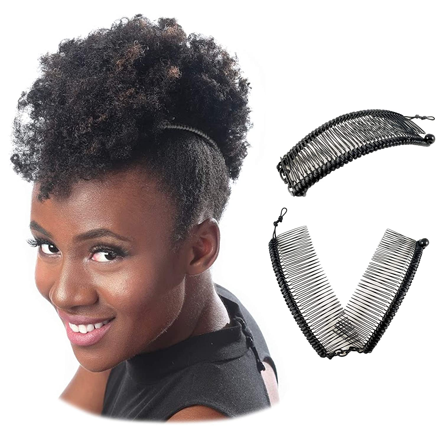 Banana Clip for Thick Heavy Natural Kinky & Curly Hair Stretch & Adjust for  Safe Comfy Updos Large Black Satin w/Ball Closure