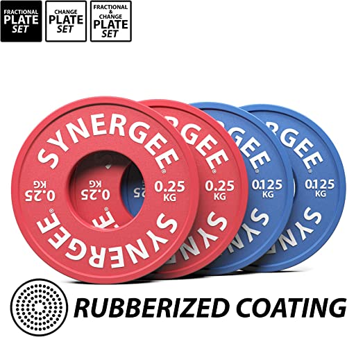 Synergee Rubberized Fractional Plates and Change Plates 0.125 kg, 0.25 kg, 0.5 kg.0.5 kg, 1.0 kg, 1.5 kg, 2.0 kg and 2.5 kg Set. Incremental Weights, Micro Weights for Powerlifting Olympic Lifting