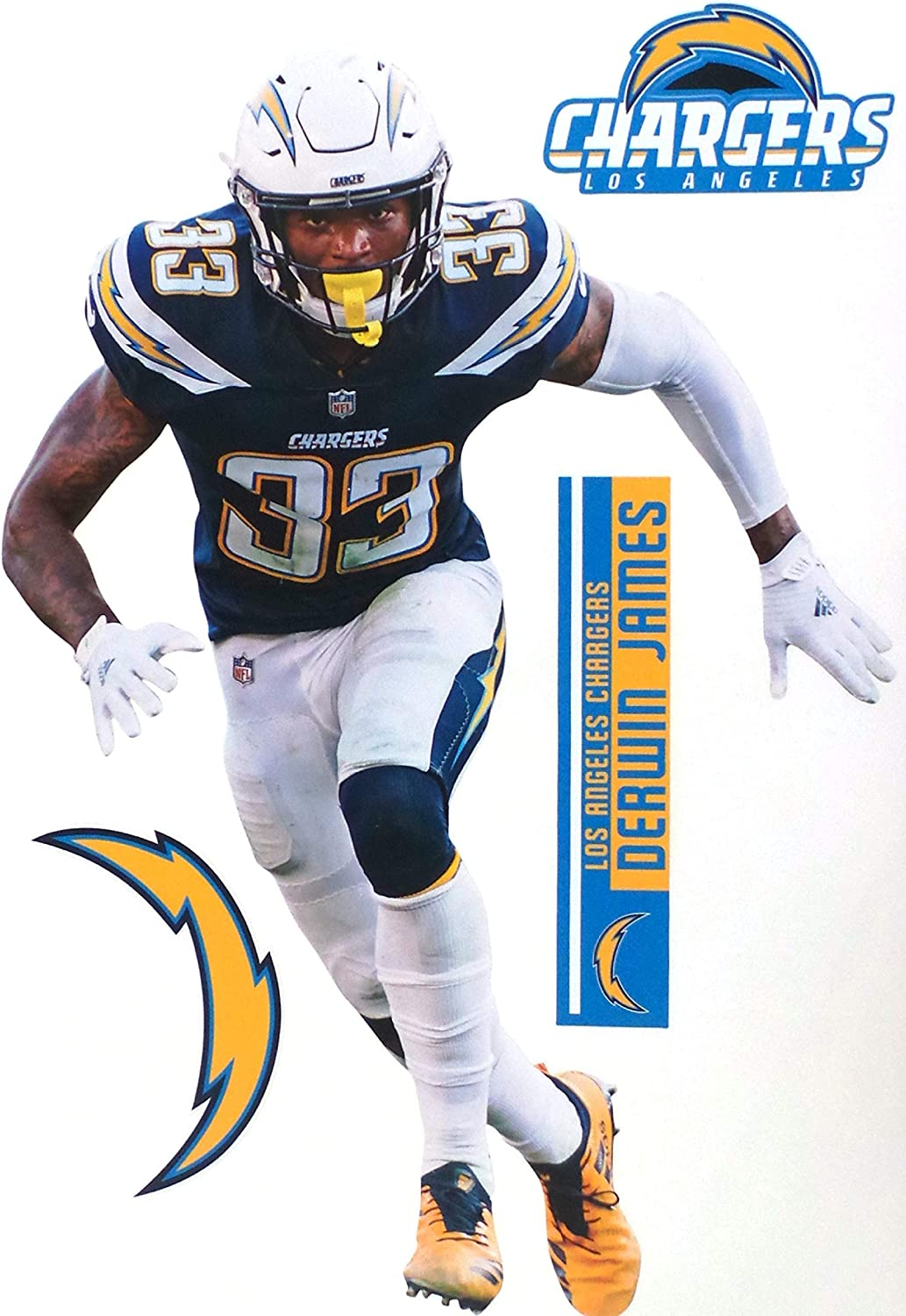 TEAMMATE Derwin James FATHEAD Los Angeles Chargers Logo Set Official NFL Vinyl Wall Graphics 17