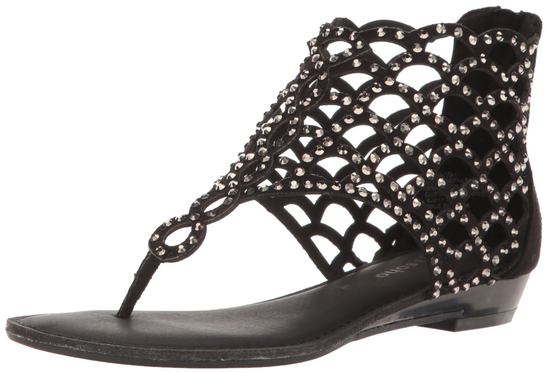 ZIGIny Women's Melaa Flat Sandal, Blk Suede a, 6 M US