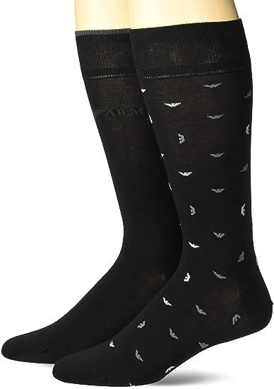 5e2d0ad23 Emporio Armani Men s All Over Eagle 2 Pack Short Socks