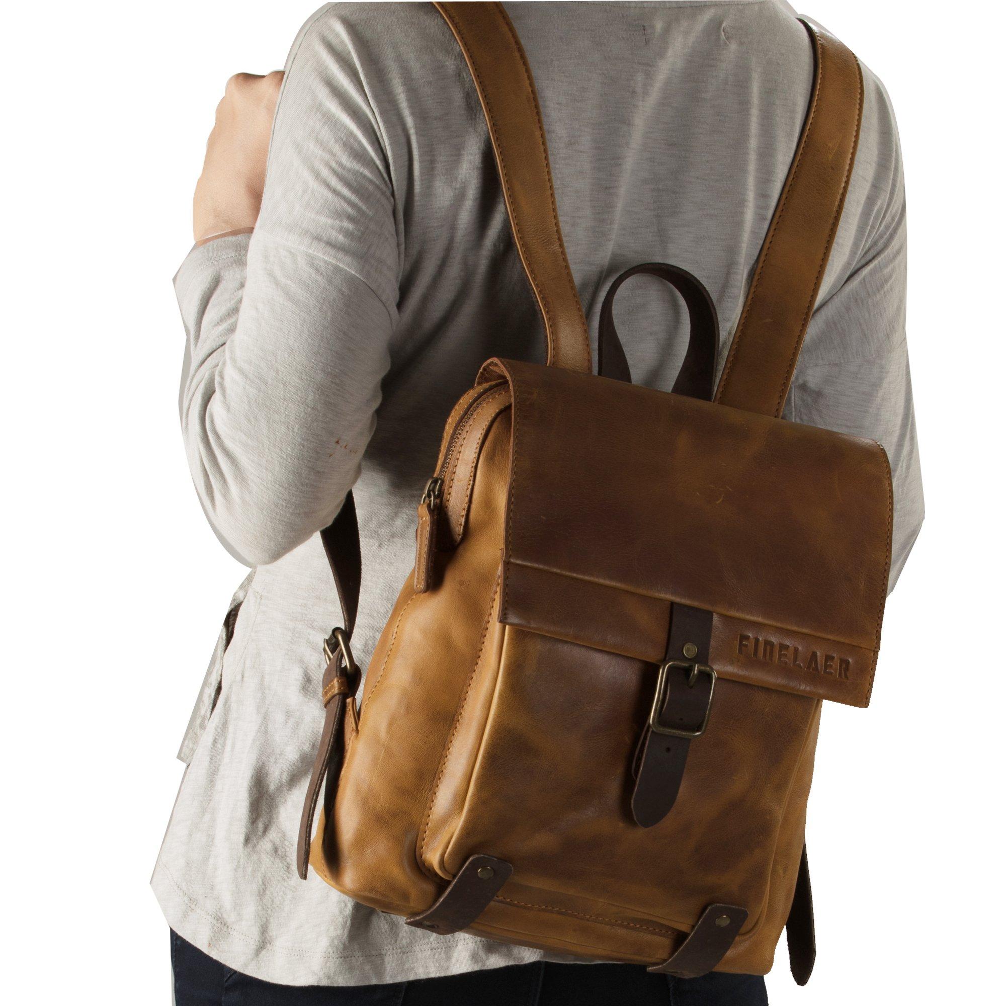 Finelaer Vintage Genuine Leather Backpack DayPack Travel College Bag Brown Men Women by FINELAER (Image #3)