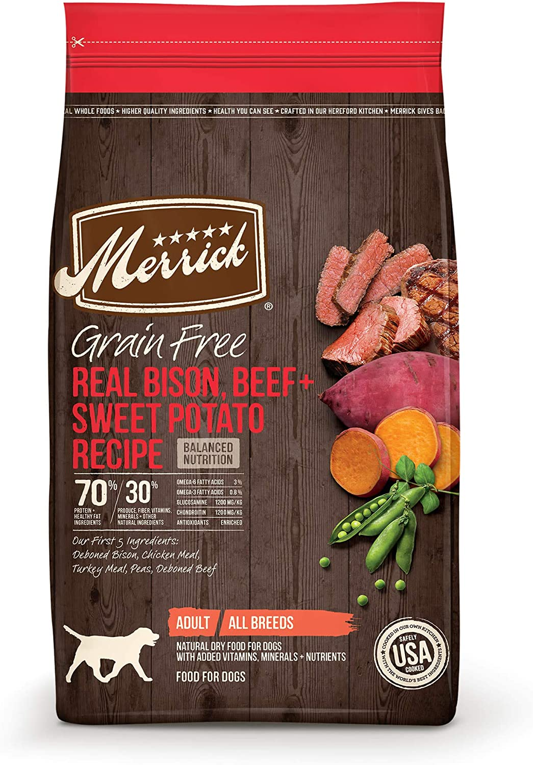 Merrick Grain Free Bison, Beef + Sweet Potato Recipe Dry Dog Food, 4 lbs.