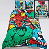 Marvel Avengers Superheroes Single/US Twin Duvet Cover and Pillowcase Set