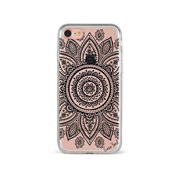 reputable site 8ddf3 40b07 iPhone 8 Clear Case, CaseYard, Luxuriously Designed Clear Cell Phone Cases,  Made in California, (Clear) Black Mandala