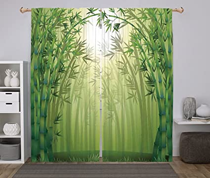 Polyester Window Drapes Kitchen Curtains,Bamboo,Illustration Of Bamboo Trees  In Rain Forest Far