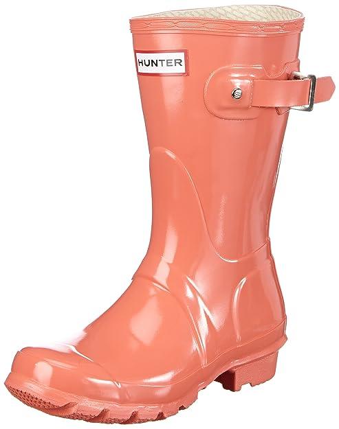 Hunter Original - Botas de agua brillantes de media caña para mujer, color rojo, talla 38