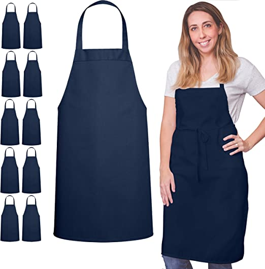 12 Pack Bib Apron - Unisex Apron Bulk Machine Washable for Kitchen Crafting BBQ Drawing Outdoors By Green Lifestyle (Pack of 12, Navy)……