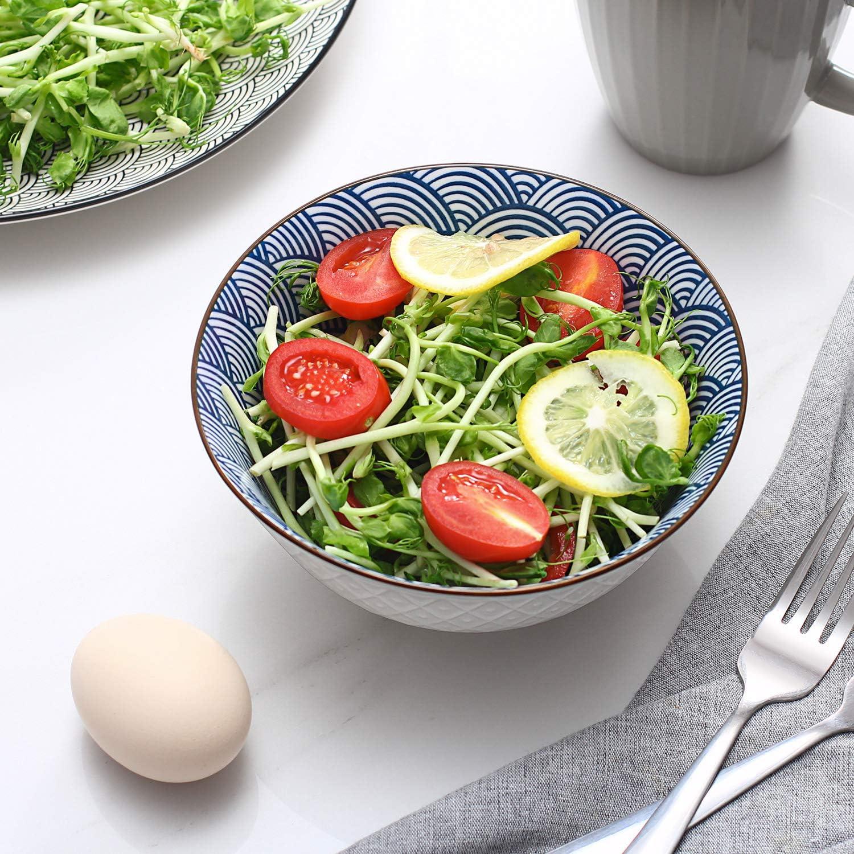 rameaux salade motifs assortis bleus et blancs p/âtes micro-ondes et lave-vaisselle Y YHY Lot de 4 bols /à c/ér/éales en c/éramique pour soupe riz