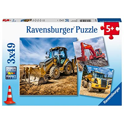 Ravensburger 05032 Diggers at Work 3 x 49 Piece Puzzles in a Box - 3 x 49 Piece Puzzles for Kids, Every Piece is Unique, Pieces Fit Together Perfectly: Toys & Games