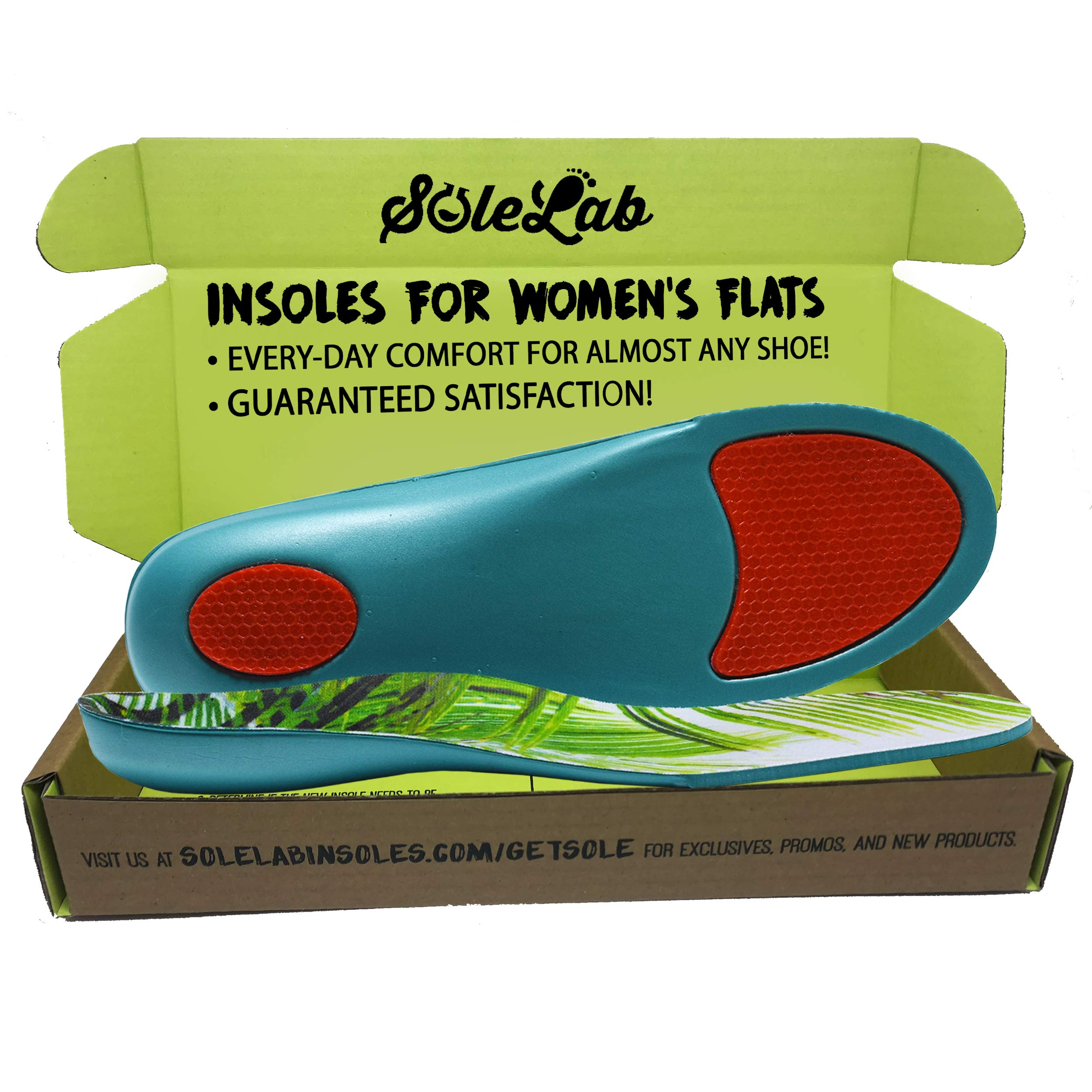 Insoles for Womens Flats :: Full Length :: Comfort Orthotic :: Replacement Inserts with Adaptive Arch and Gel Insert, Size (6.5, 7, 7.5, 8 or EU 37, 38, 39)