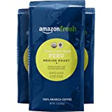 AmazonFresh Fair Trade Organic Peru Coffee, Medium Roast, Ground, 12 Ounce, Pack of 3