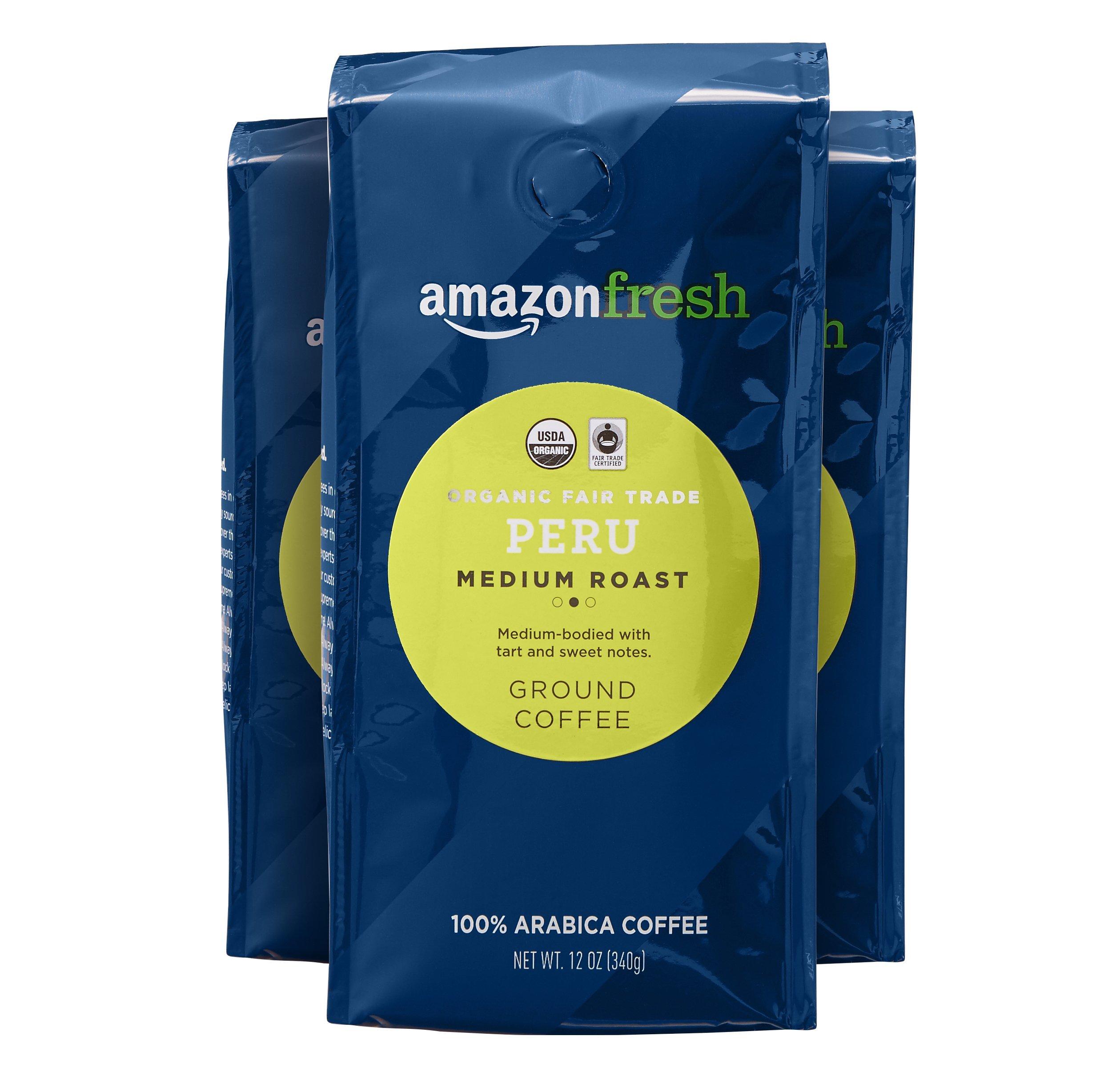 AmazonFresh Organic Fair Trade Peru Ground Coffee, Medium Roast, 12 Ounce (Pack of 3)
