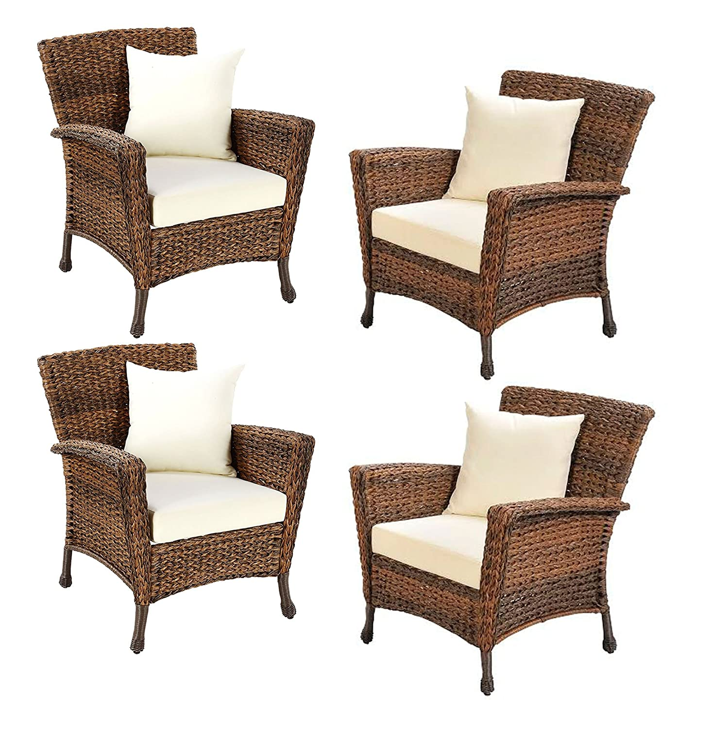 W unlimited rustic collection outdoor furniture light brown rattan wicker garden patio furniture bistro set lounger deep seating sectional cushions 4